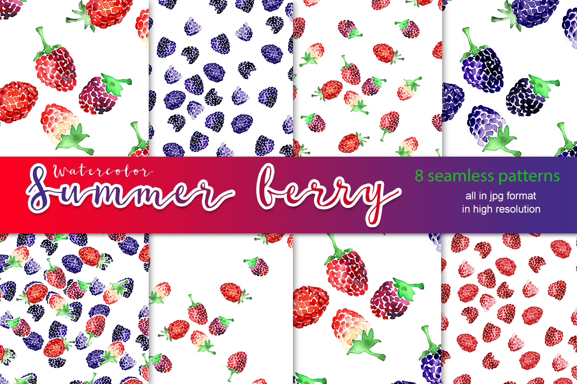 Watercolor summer berry patterns example image 1