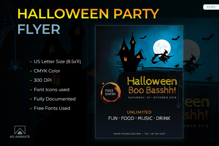 Halloween Party Flyer template example image 1