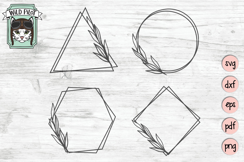 Leaf Frame SVG file, Leaf Border, Monogram Frame, Shapes example image 1