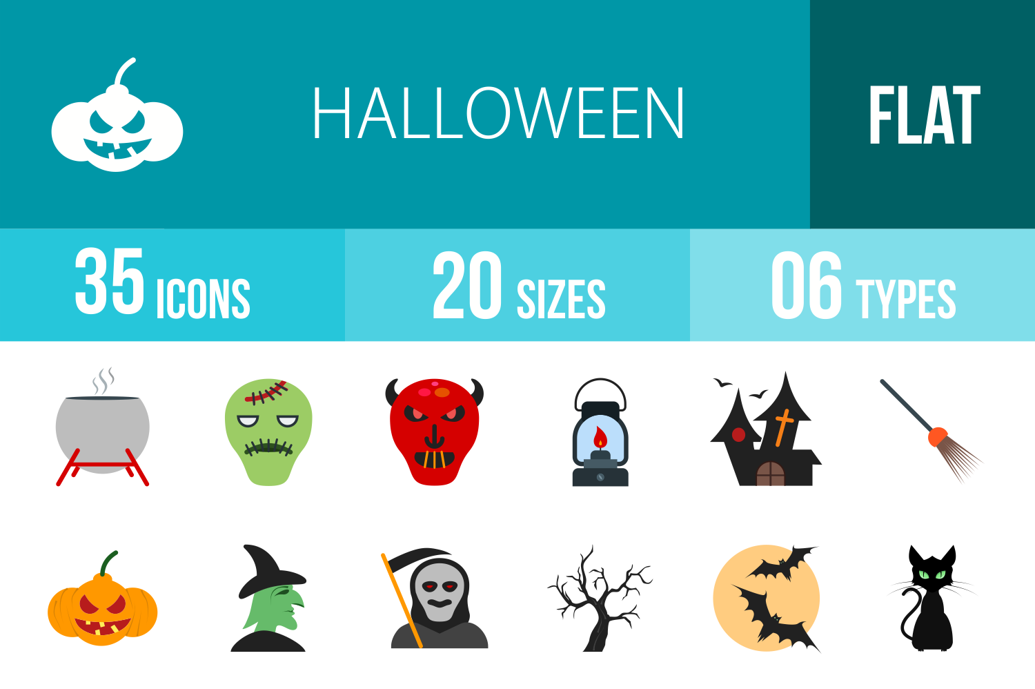 35 Halloween Flat Multicolor Icons example image 1