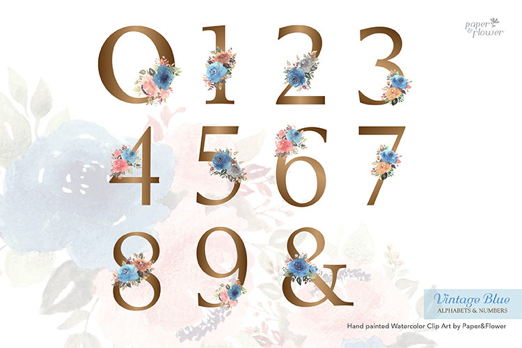 Vintage Blue Floral Watercolor Alphabet Set example image 2