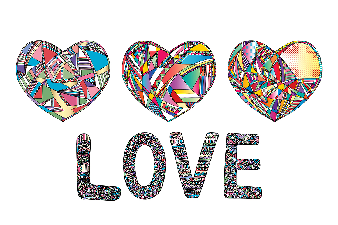 Hearts and gender symbols. LOVE vector collection. example image 5