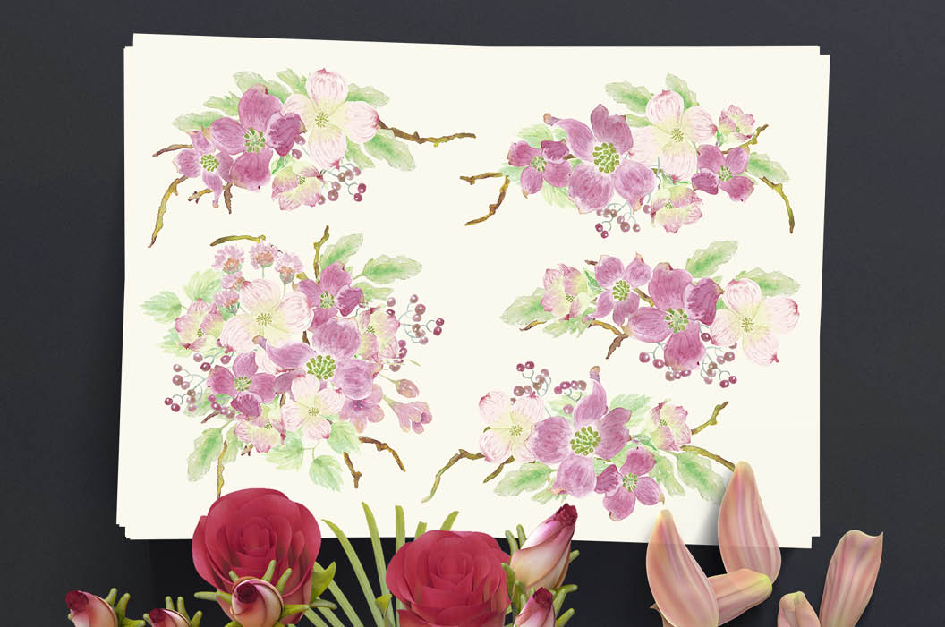 Watercolor sprays of flowering Dogwoods example image 5