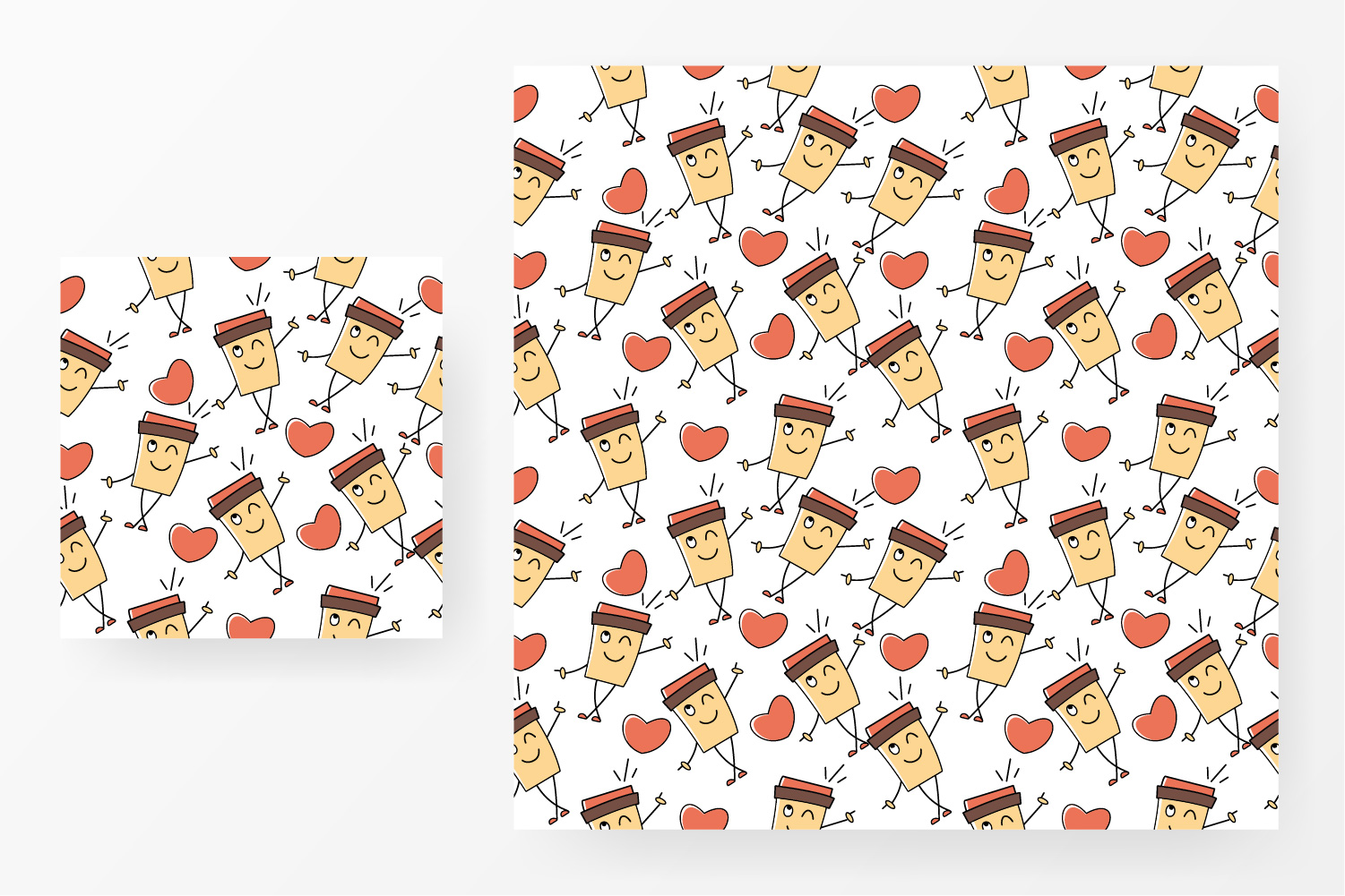 Seamless pattern coffee and love example image 1