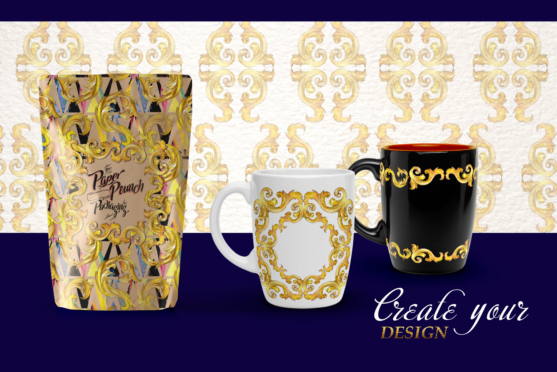 Luxury gold monograms. Fashion prints Watercolor png example image 5