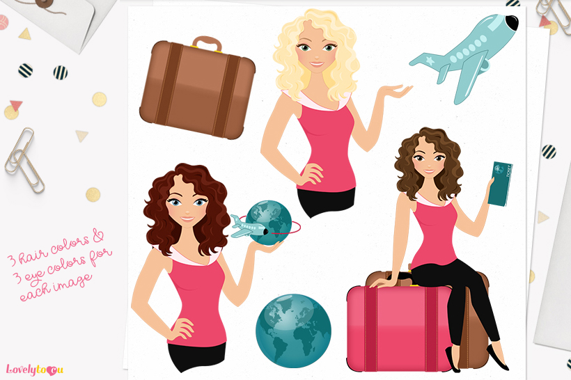 Woman travel character clip art L133 Dixie example image 1