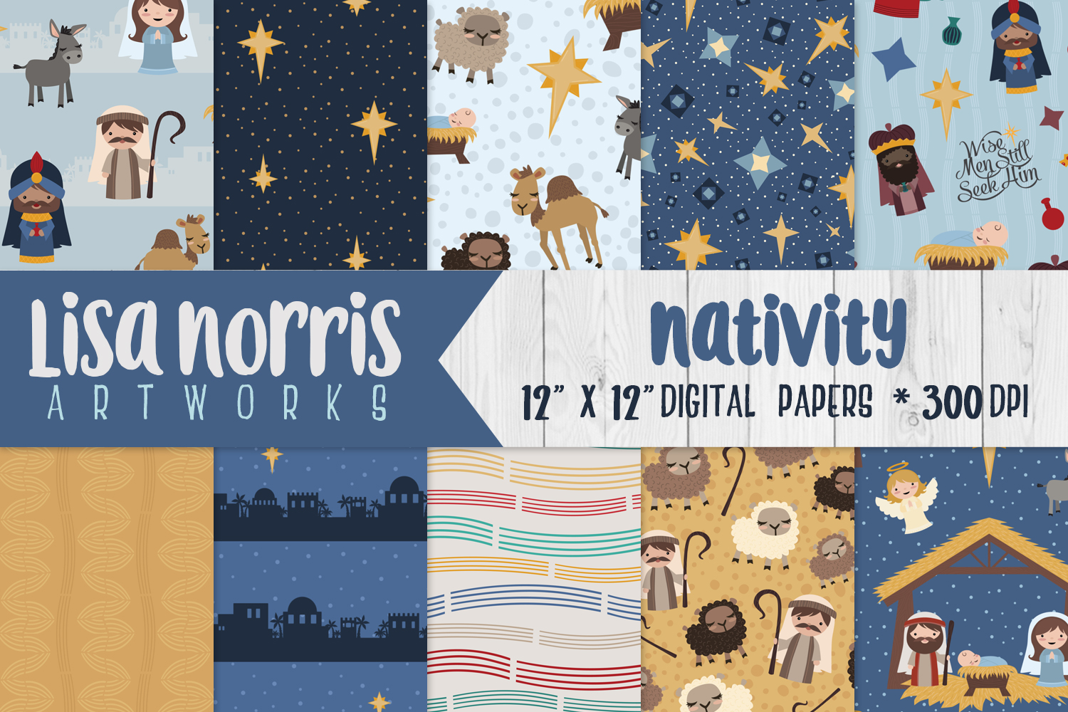 Nativity Digital Papers example image 1
