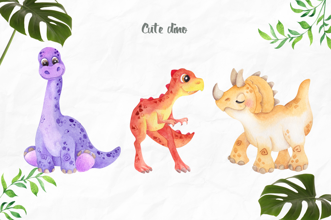 DinoLand. Cute Watercolor set example image 2