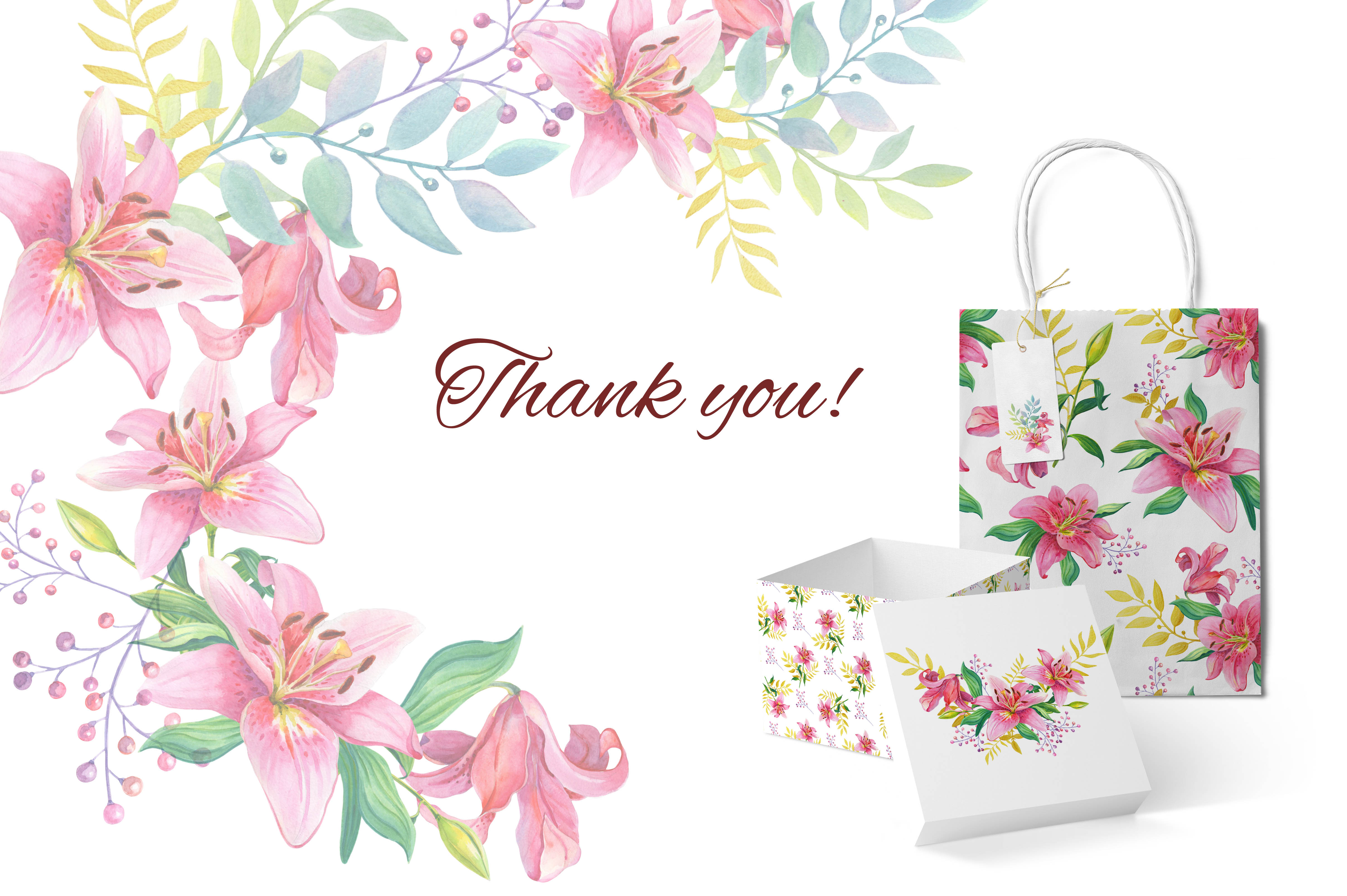 Pink Lilies.Watercolor clipart. example image 9