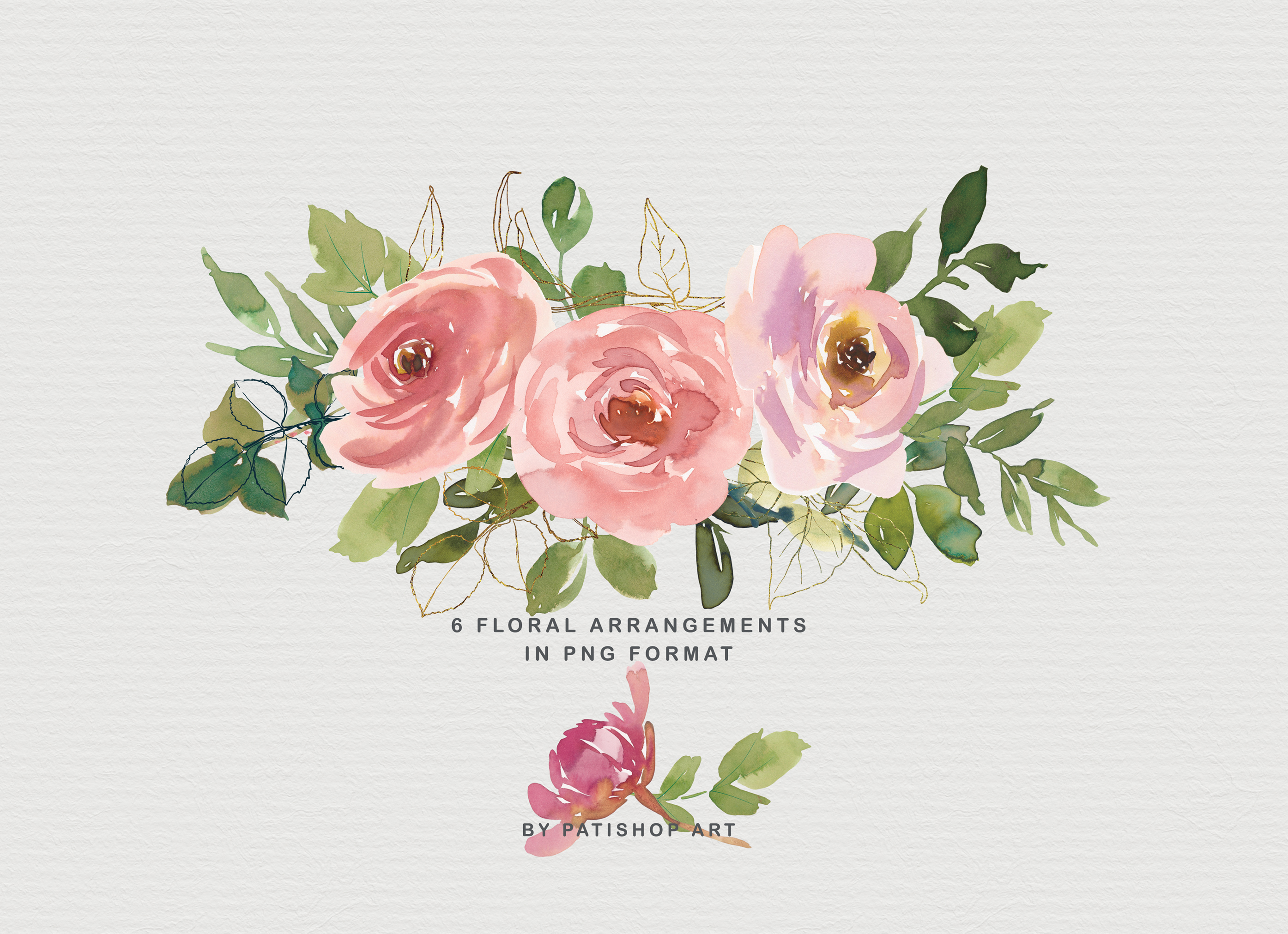 Blush and Peach Watercolor Floral Clipart Collection example image 4