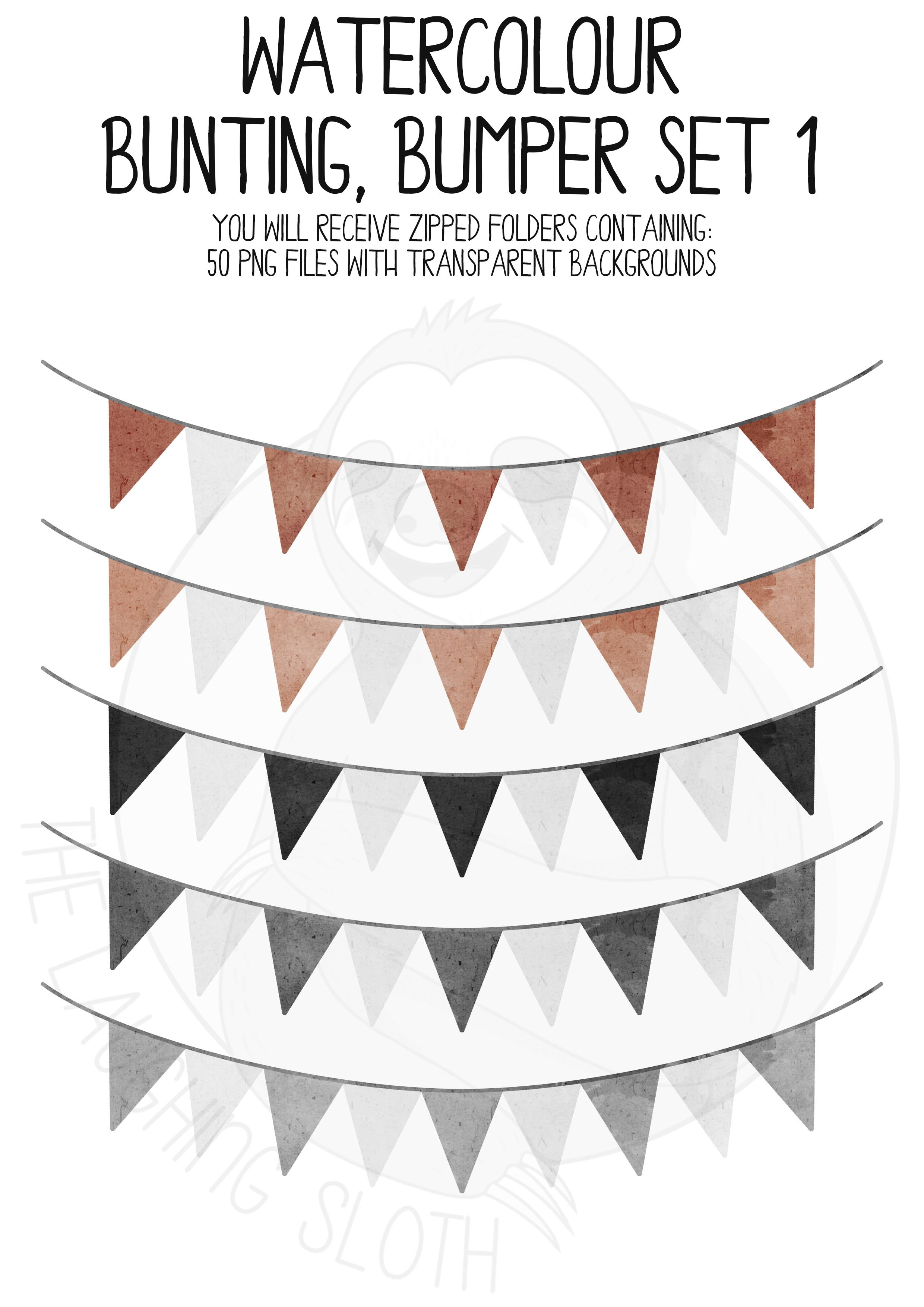 Watercolor Bunting Bumper Clipart Set example image 7