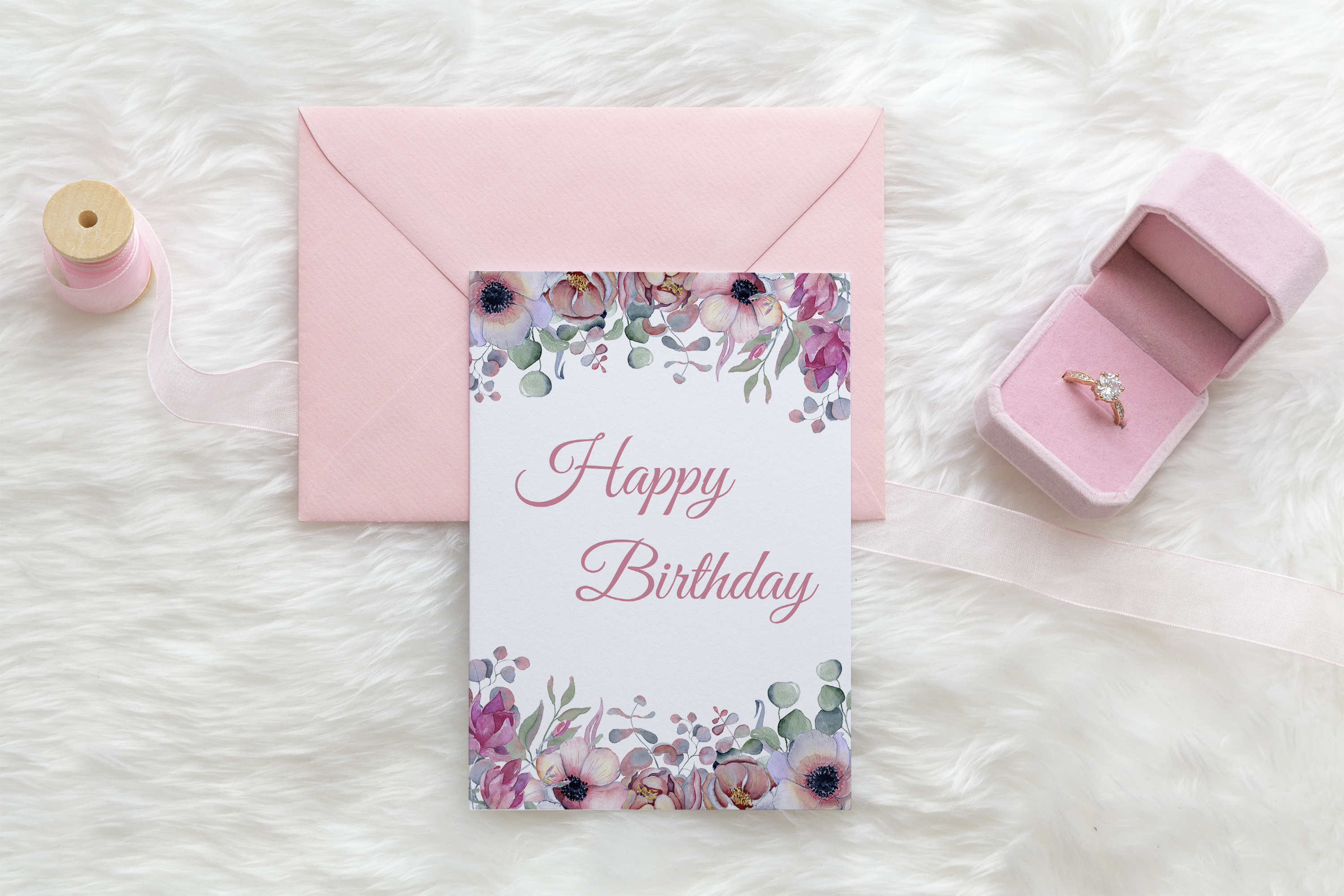 Card Mockup, with pink envelope PSD example image 4