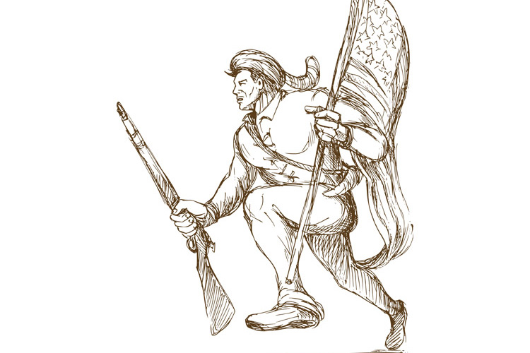 american revolutionary carrying flag example image 1