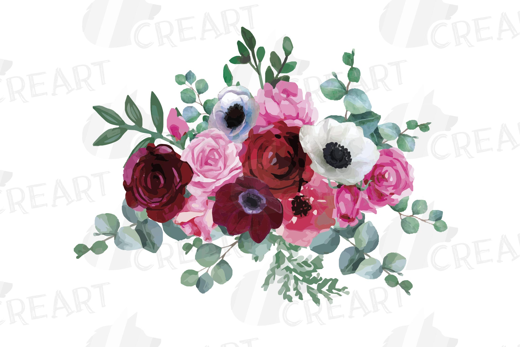 Watercolor elegant floral bouquets 2, rose, anemone decor example image 8