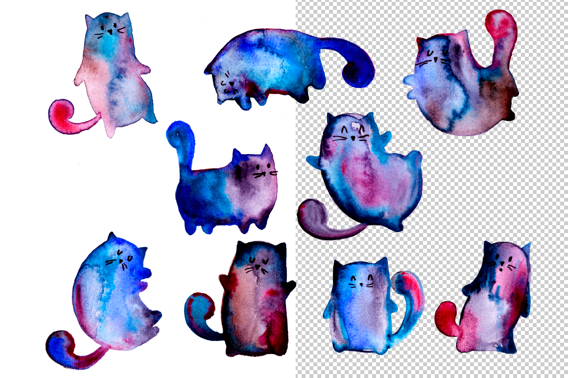 Watercolor cats example image 2