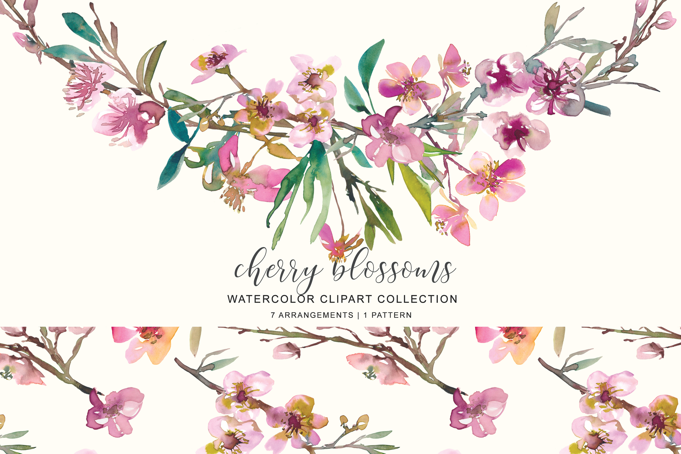 Hand Painted Watercolor Pink Cherry Blossoms example image 2