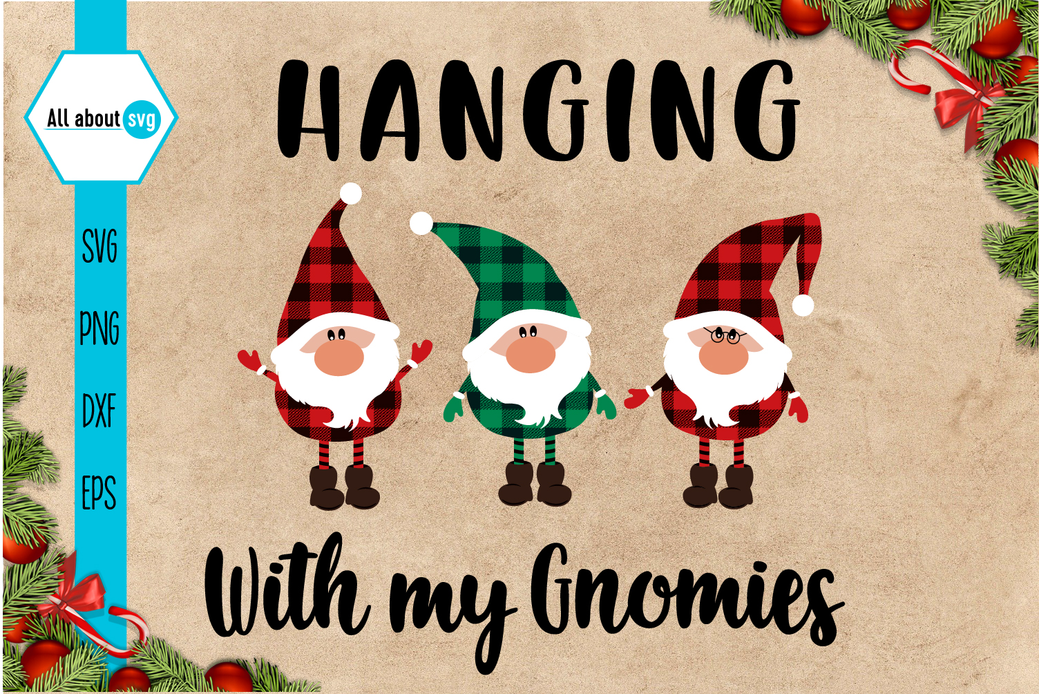 Hanging With My Gnomies Buffalo Plaid Svg example image 2