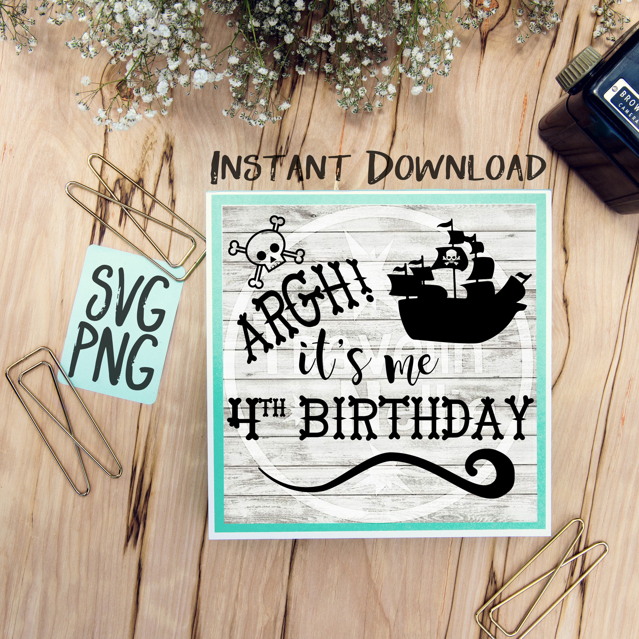 4th Birthday Pirate SVG It's Me Forth Pirate Ship Theme Cut example image 1