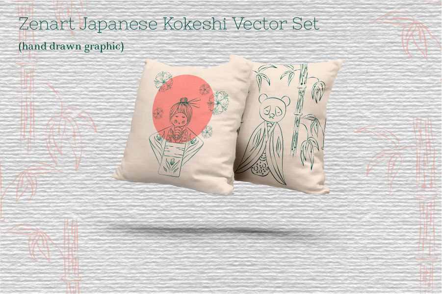 Zenart Japanese Kokeshi Vector Set example image 4