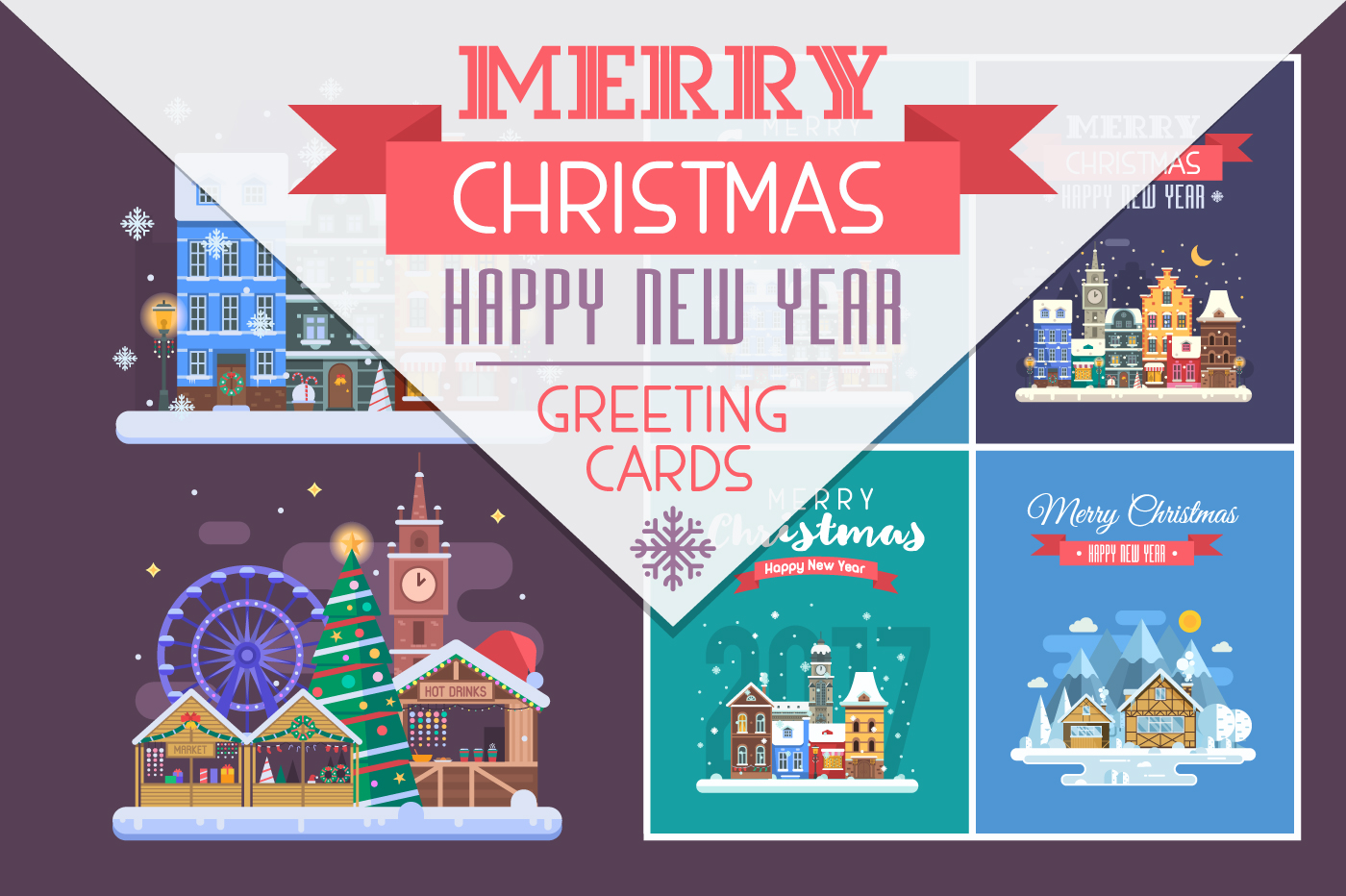 New Year and Christmas Cards with Europe Cities example image 1