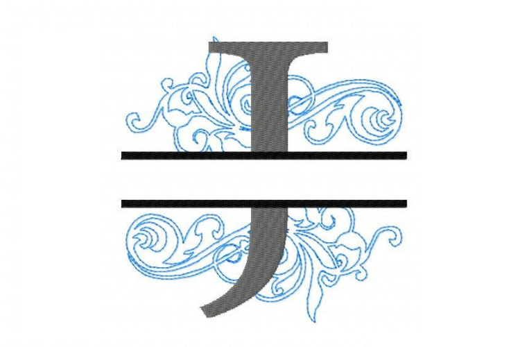 Embroidery Fonts Split Monogram, Monogram J, 4X4 5X7 6x10 example image 3