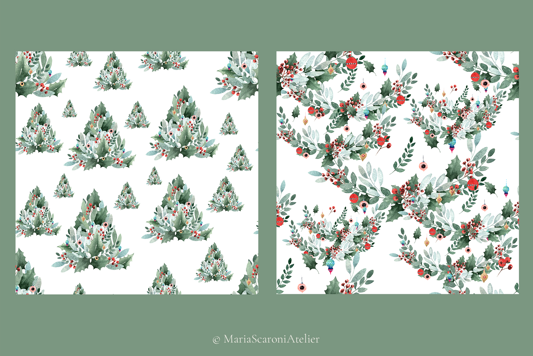 Watercolor Christmas Collection example image 7