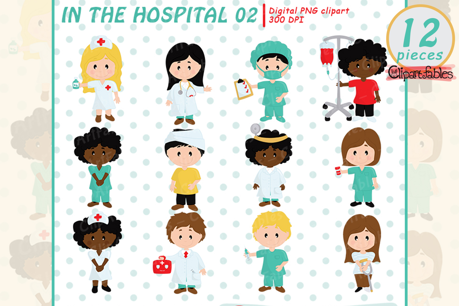 Cute doctor and patient clipart - INSTANT download example image 1