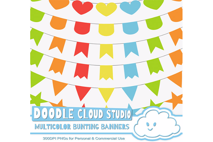 Multicolor Bunting Banners Cliparts, Colorful Rainbow Bunting Flags, Transparent Background, Instant Download, Personal & Commercial Use example image 3