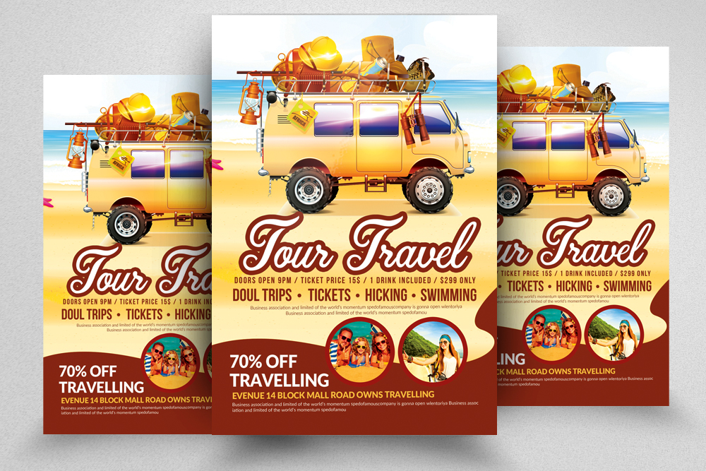 10 Tour Travel Agency Flyer Template Bundle example image 2