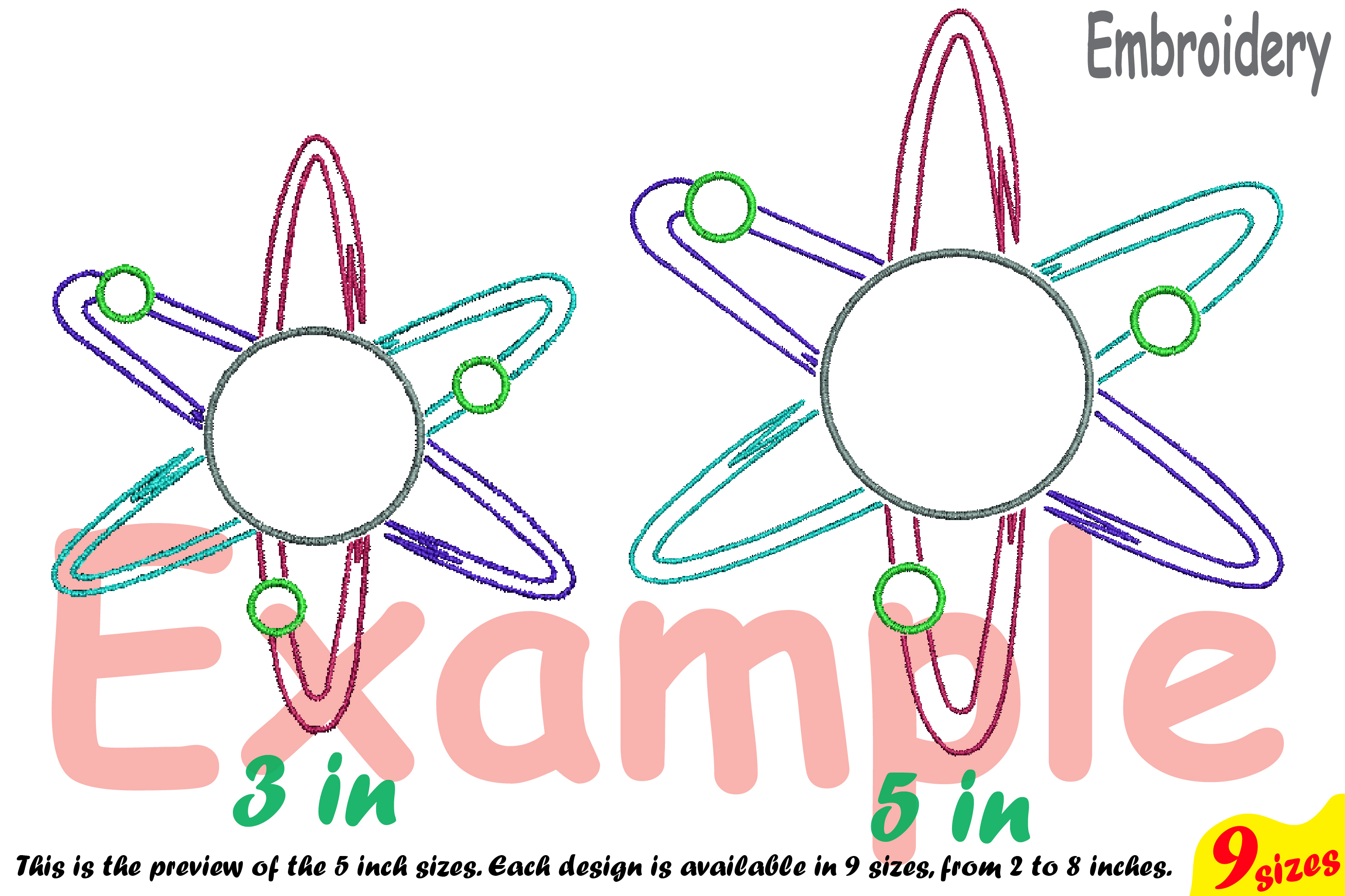 Circle Atom Science Designs for Embroidery Machine Instant Download Commercial Use digital file hoop sign Nuclear Fission outline 191b example image 4