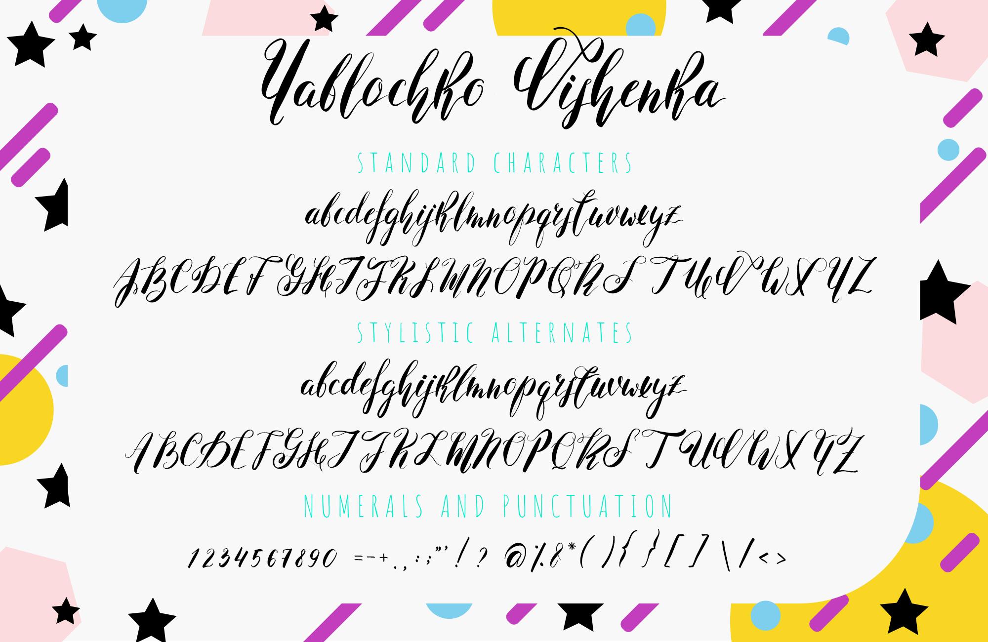 Yablochko Vishenka brush script font example image 7