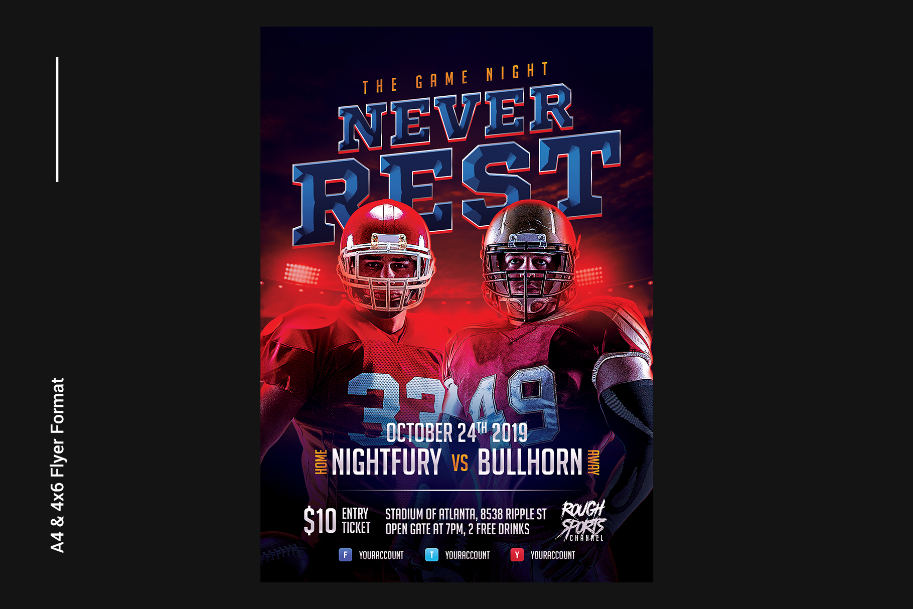 Football Game Flyer Template example image 2