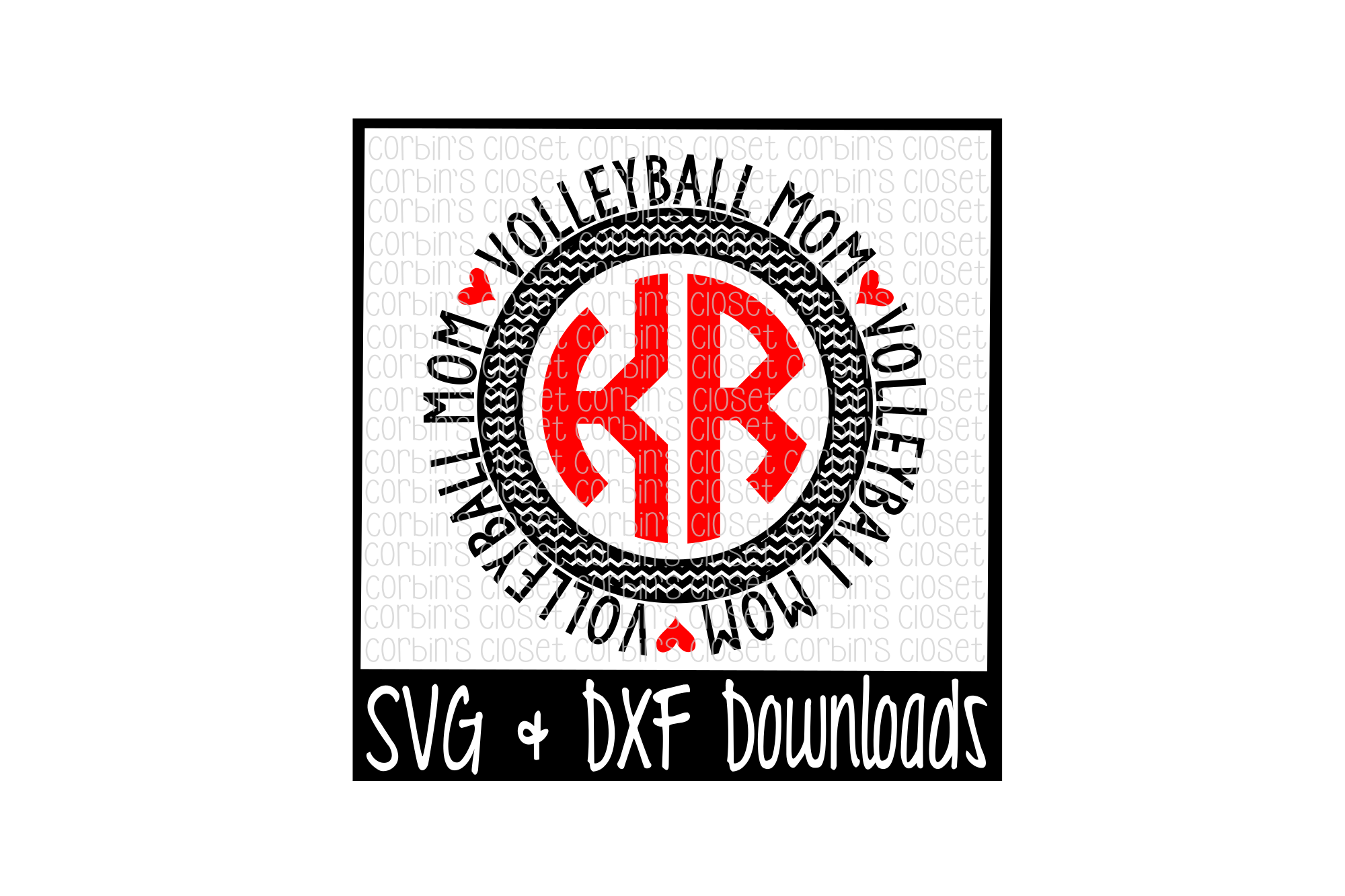 Volleyball Mom SVG * Volleyball Mom Circle Monogram example image 1