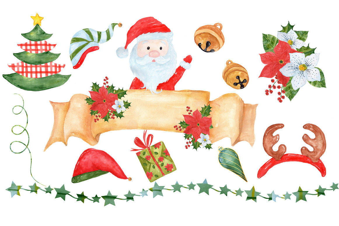 Bundle Watercolor Christmas Kids Clipart example image 18