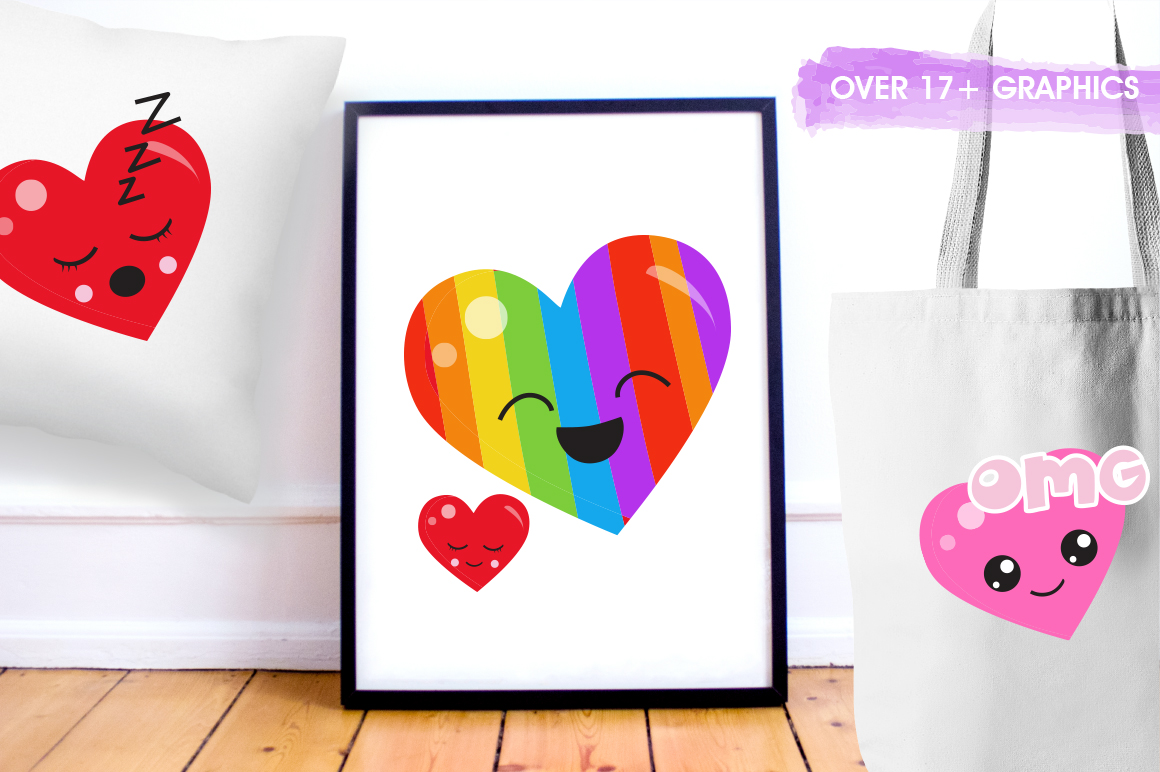 Colorful Heart graphic and illustrations example image 2