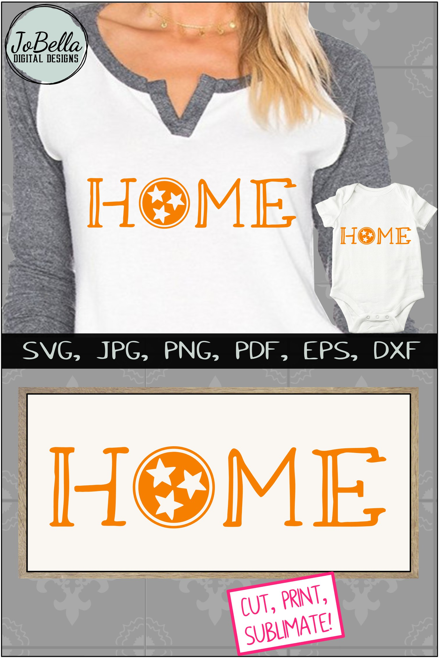 Home with Tennessee TriStar SVG, Sublimation PNG & Printable example image 5