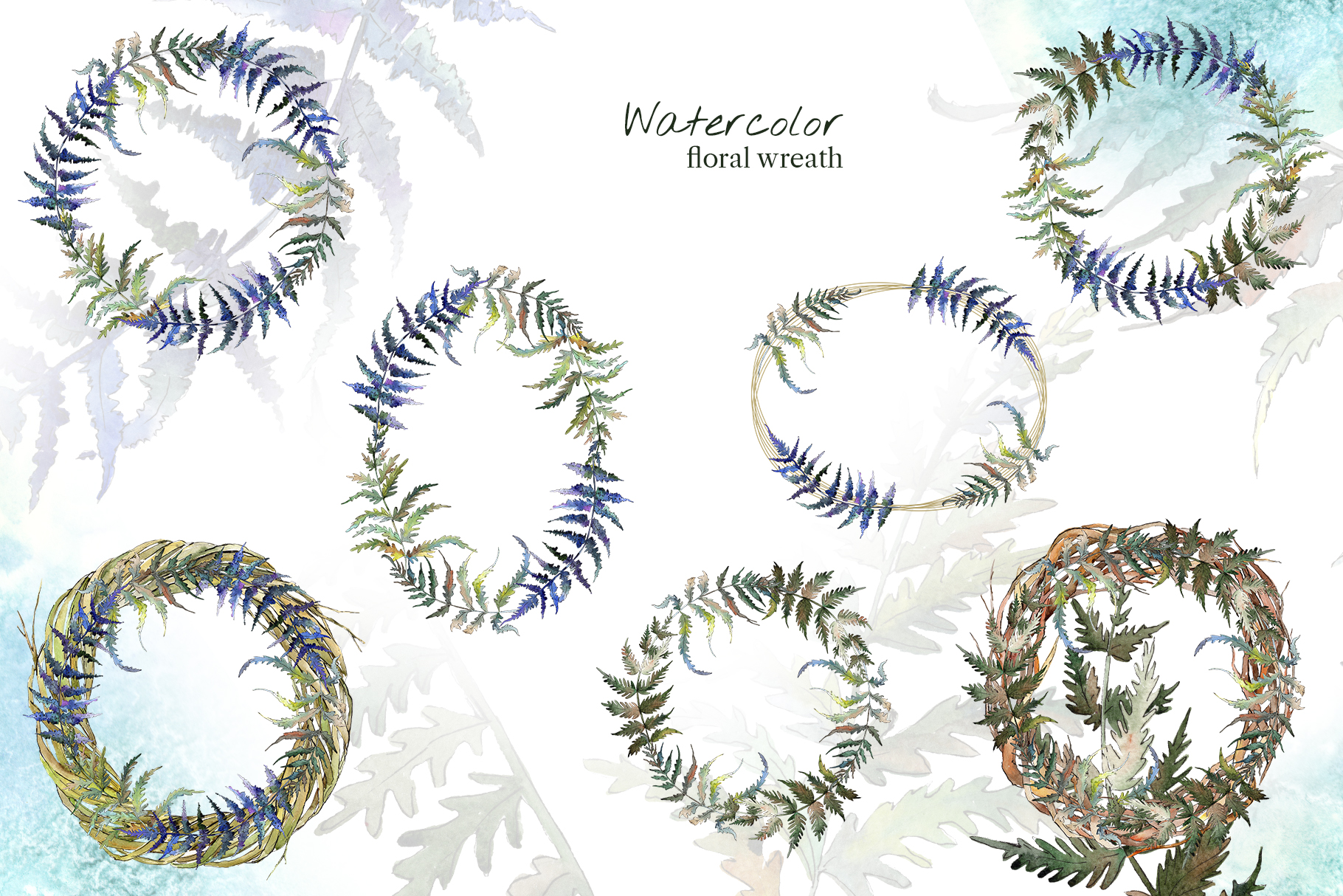 Fern leaf clipart watercolor png example image 3