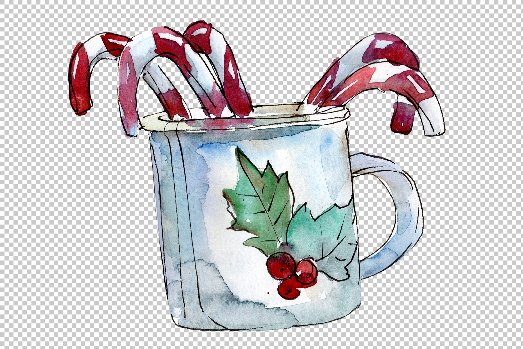 Christmas tea-drinking watercolor PNG example image 2