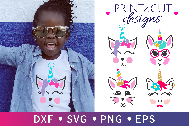 4 SVG unicorn party, Cat unicorn birthday, Bunny Clipart example image 1