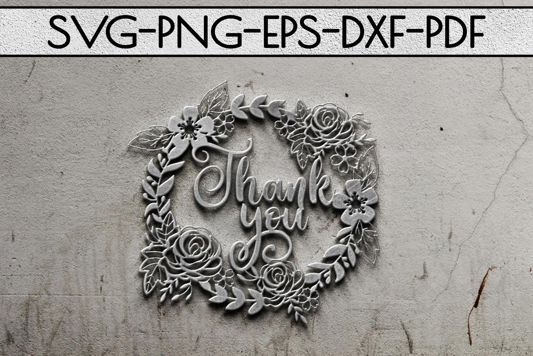 Thank You Papercut Templates Bundle, Laser Vector SVG, PDF example image 9