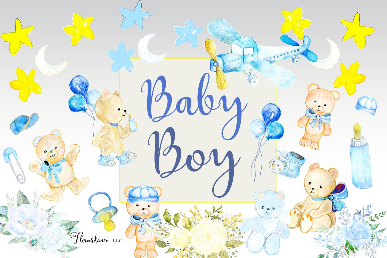 Watercolor Baby Boy Clipart example image 5