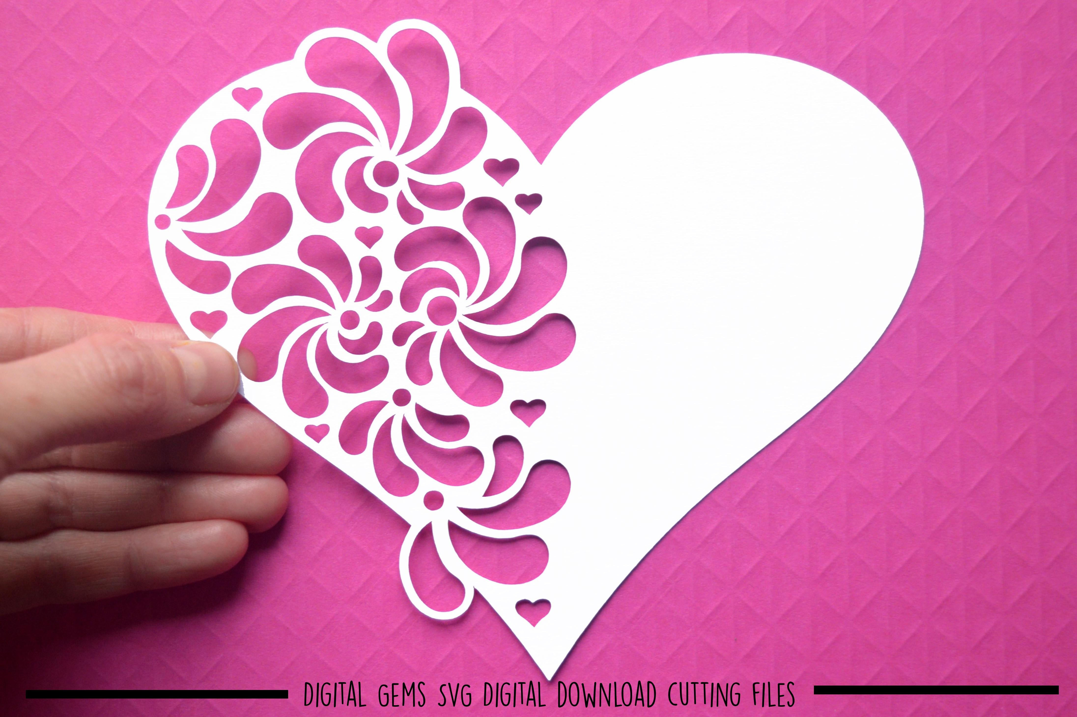 Heart paper cut SVG / DXF / EPS files example image 1