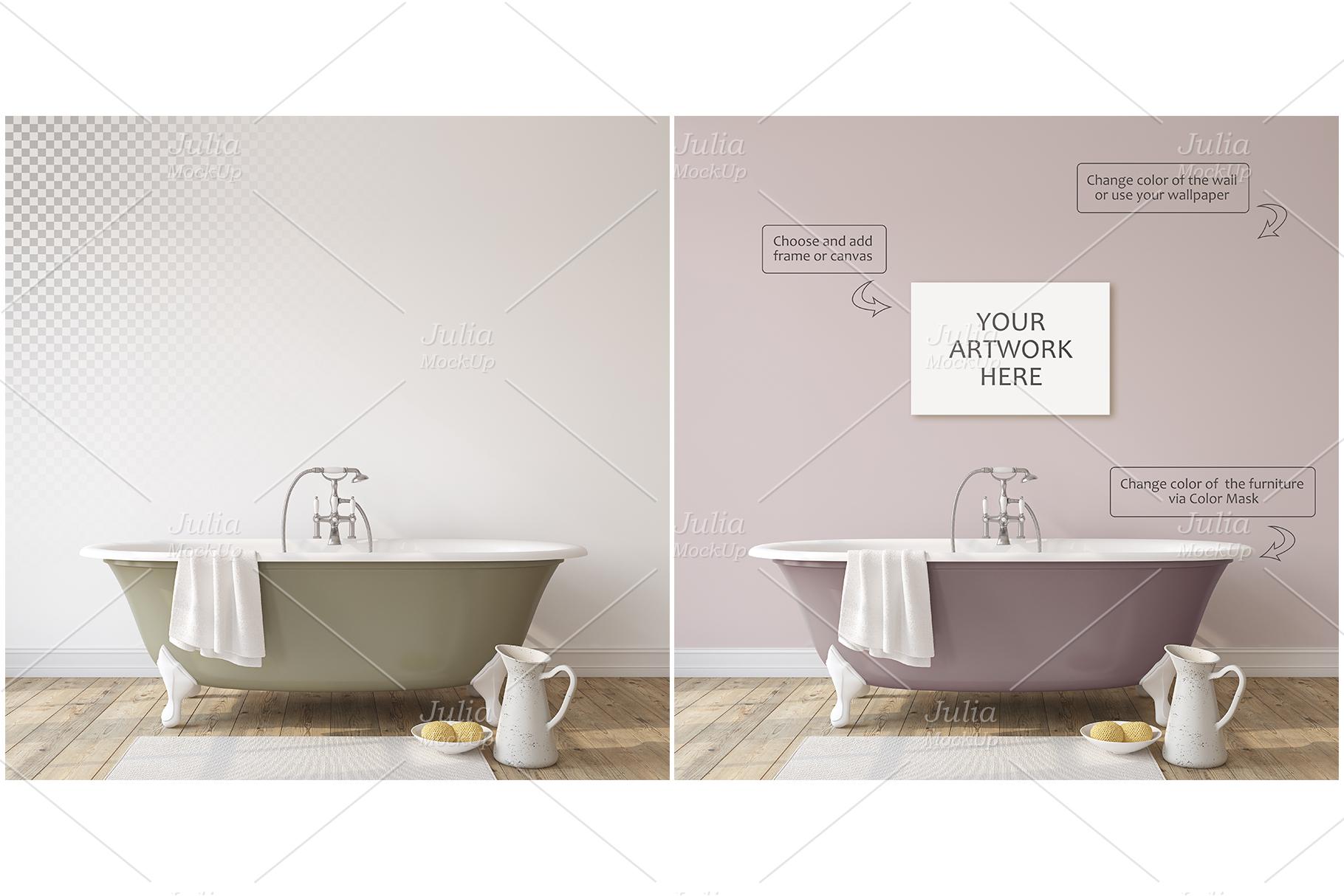 Romantic bathroom. Wall&Frames Mockup. example image 2
