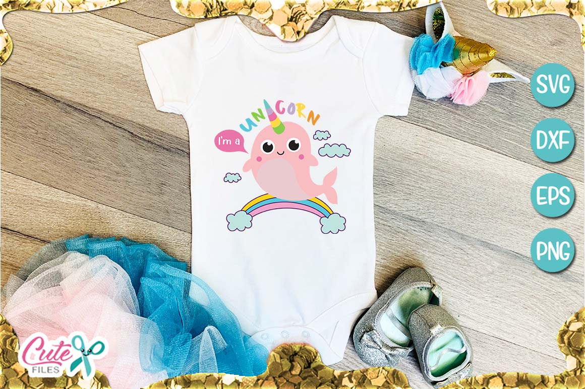 I am a Unicorn, whale SVG for crafter example image 1