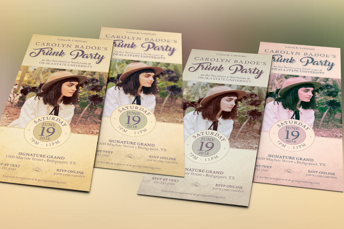 Retro Trunk Party Flyer Template example image 4