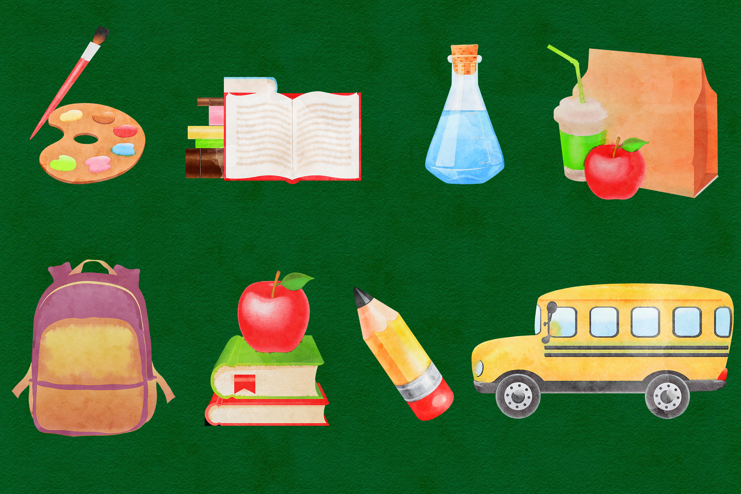 Watercolor School Clipart, Back To School example image 3