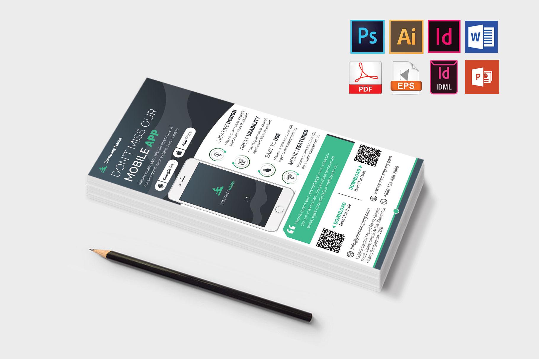 Mobile App Promotion DL Flyer Vol-02 example image 3