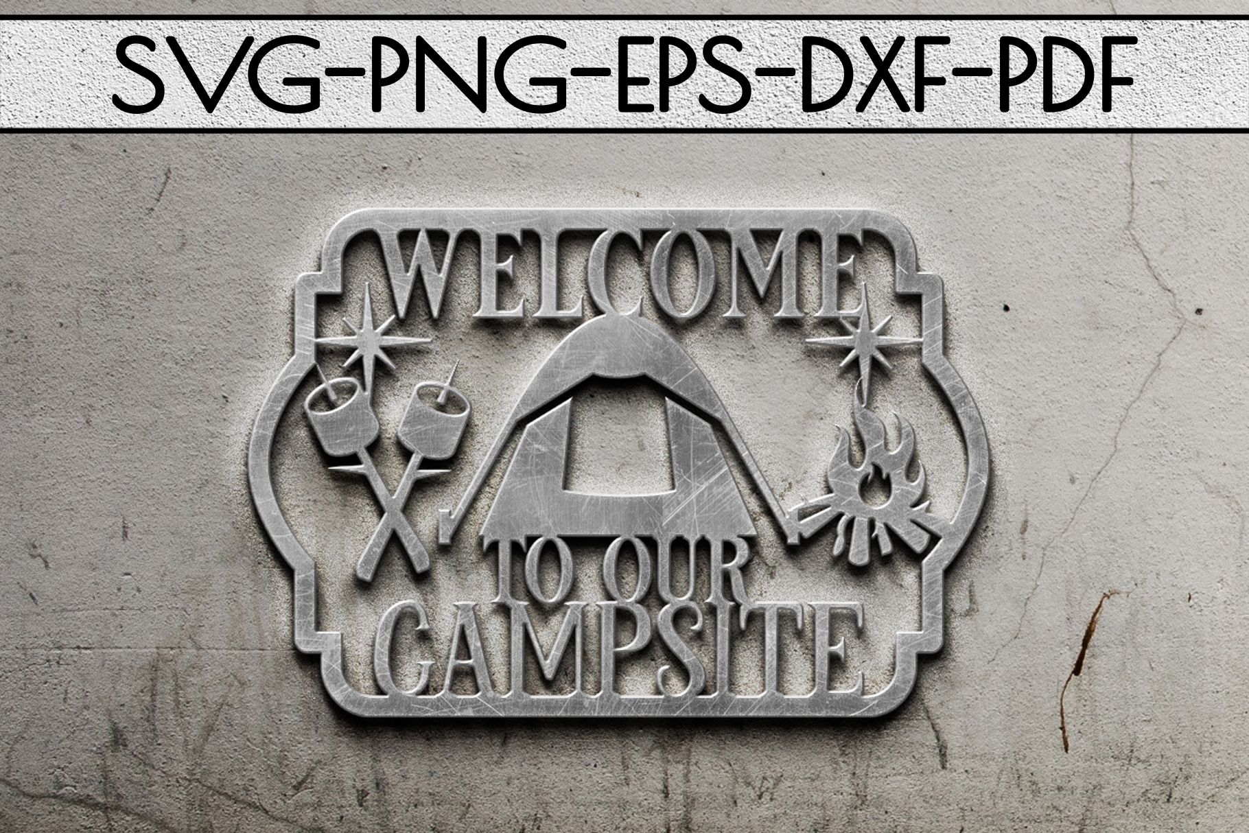 Welcome To Our Campsite Papercut Template, SVG, PDF, DXF example image 2