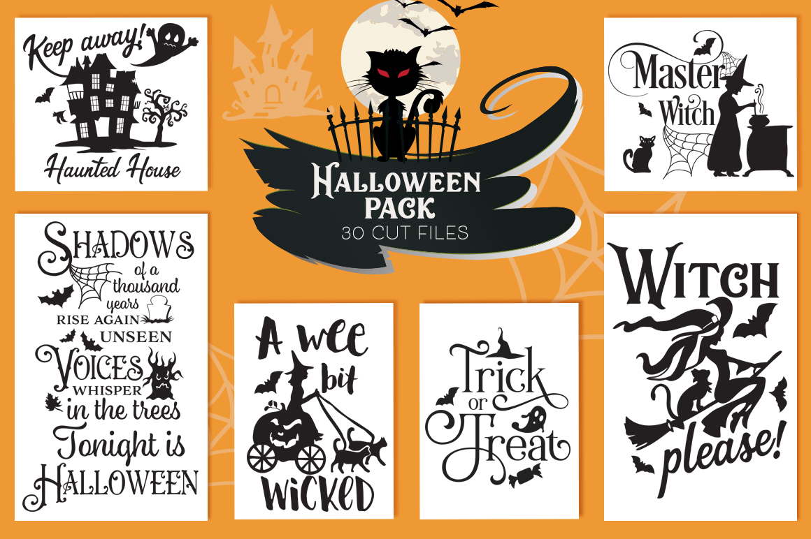 The Halloween SVG Cut Files Pack with 30 Items example image 1