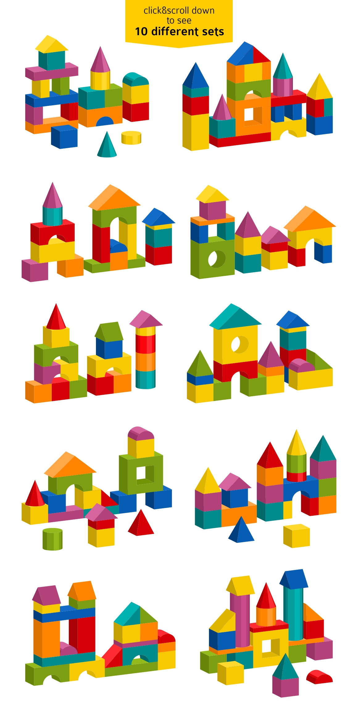 Toy blocks building towers example image 2